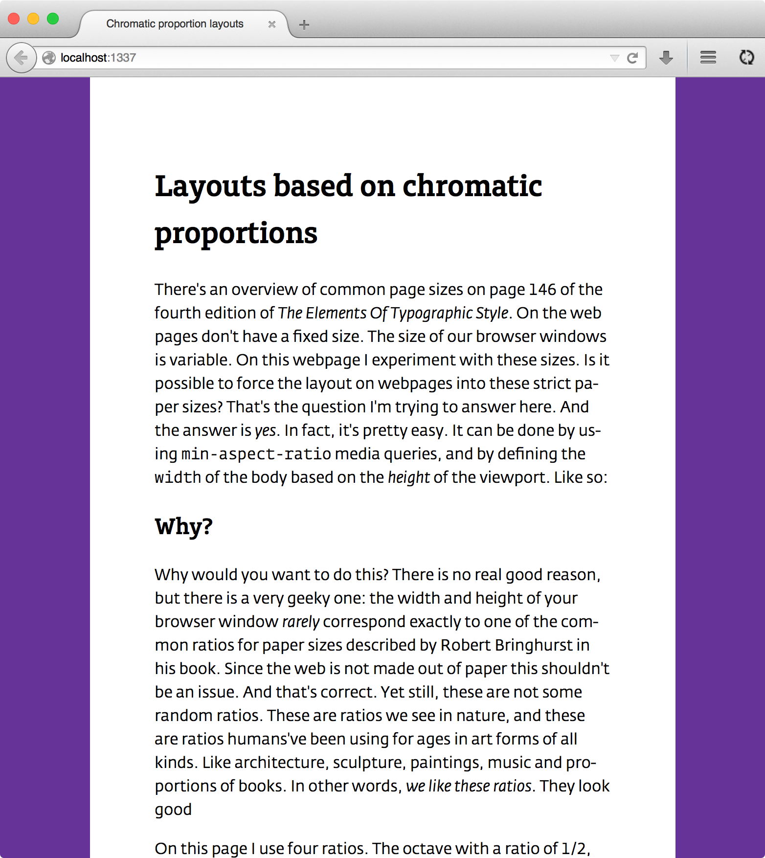 A webpage with a constructed canvas with a 3/4 ratio.